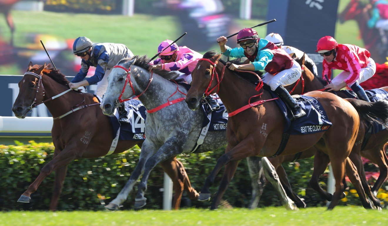 Aethero (inside) is edged out in the Hong Kong Sprint.