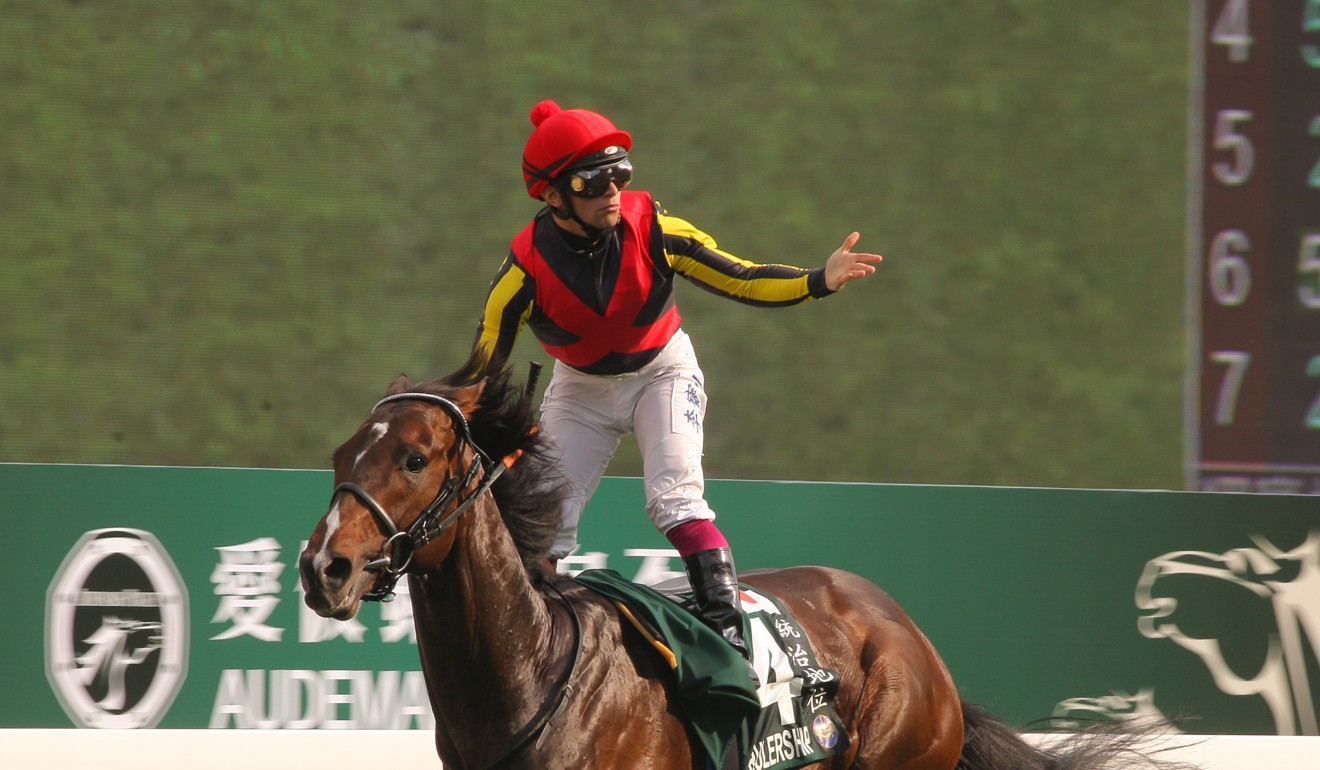 Umberto Rispoli celebrates his QE II Cup win on Rulership.