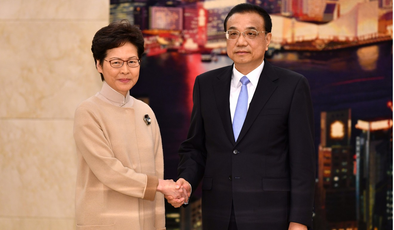 Carrie Lam with Premier Li Keqiang. Photo: Pool