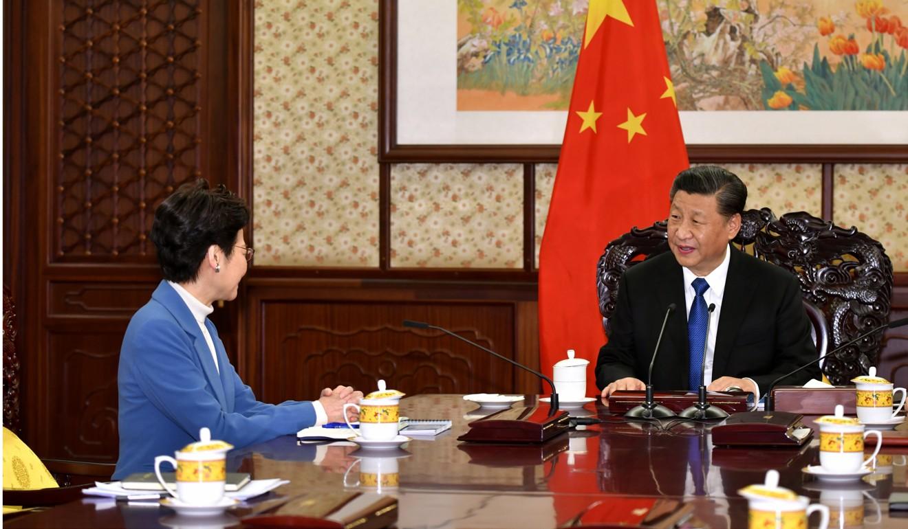 Carrie Lam briefs Xi Jinping in Beijing. Photo: Handout