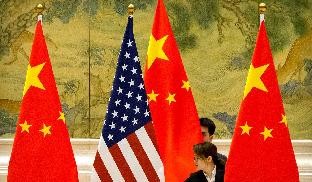 Chinese staff members adjust American and Chinese flags before the opening session of trade negotiations in 2019. Photo: Reuters