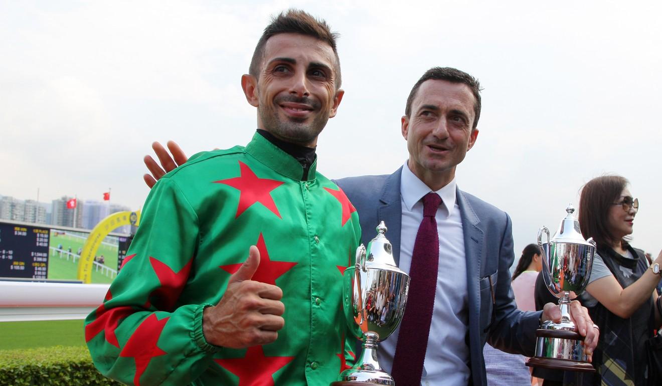 Alberto Sanna and Douglas Whyte celebrate a win together.