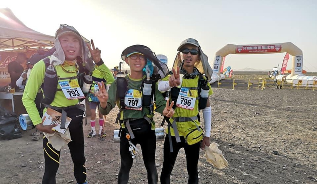(From left) Lam Pok-yin, Leung Hok-hin and Wu Man-hang have an easier time running through the desert than flying back to Hong Kong. Photo: Handout