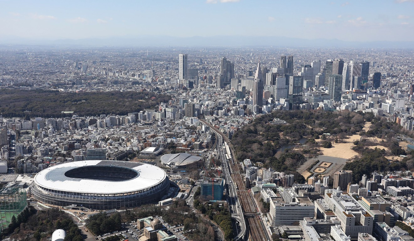 An aerial view of Japan's national stadium for for the 2020 Olympic Games in Tokyo. Photo: Jiji Press/AFP