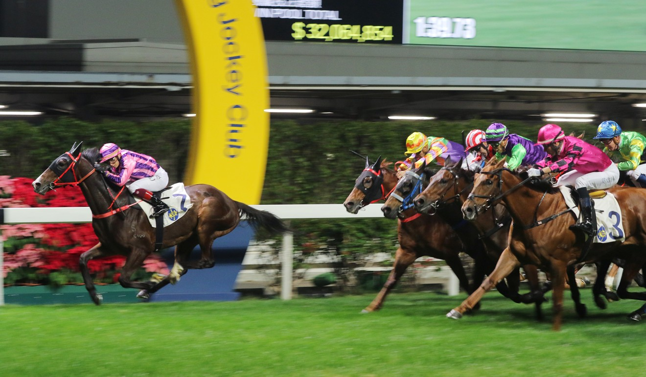 Dor Dor hits the line strongly to win under Alexis Badel at Happy Valley on Thursday night.