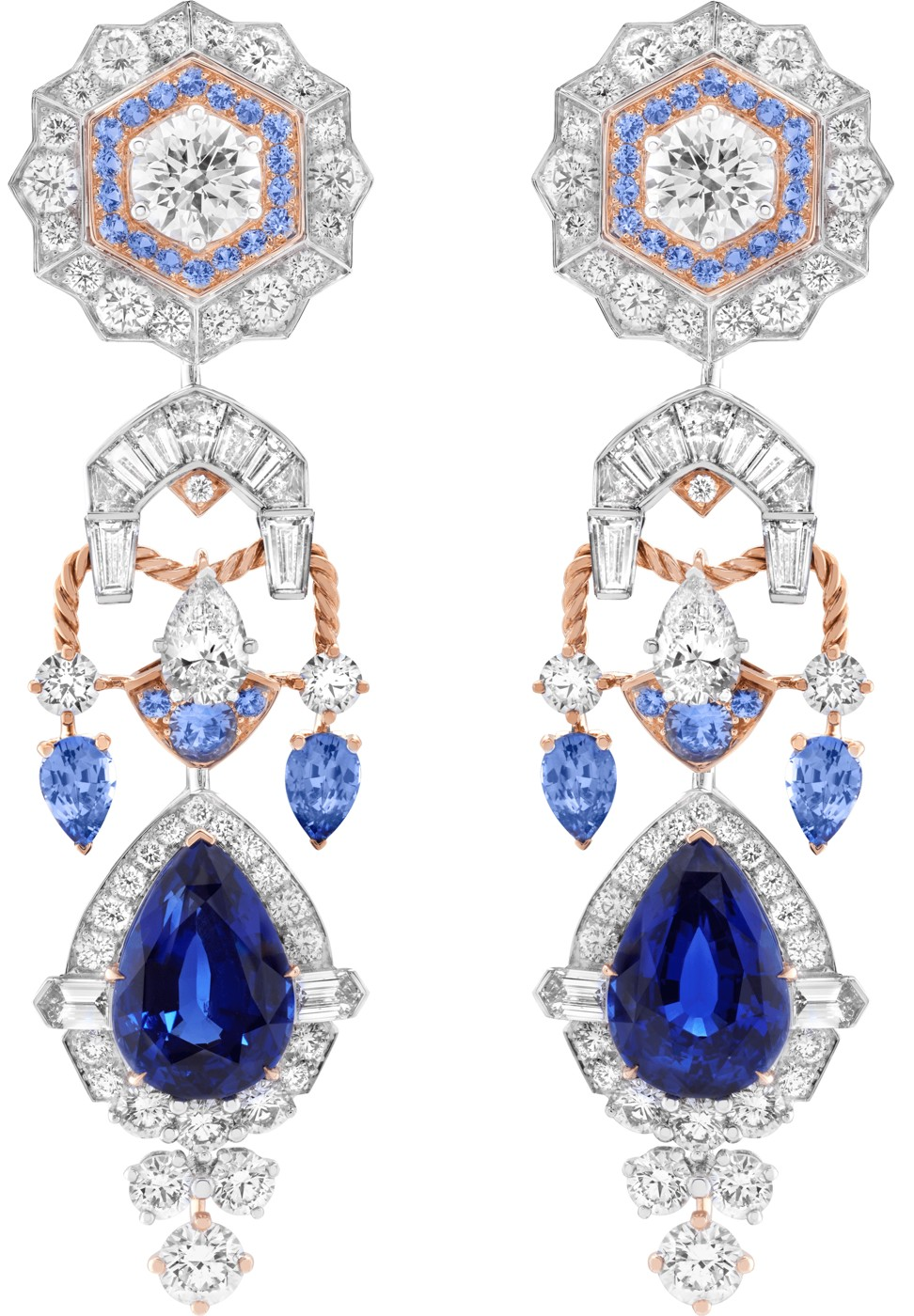 Lovia with detachable sapphire pendants from Van Cleef & Arpels' Romeo and Juliet Collection.