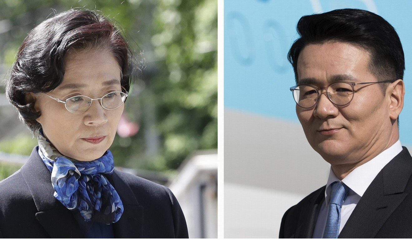 Lee Myung-hee (left), the wife of late Hanjin Group chairman, and her son Cho Won-tae, current Korean Air chairman. Photos: AP, Bloomberg