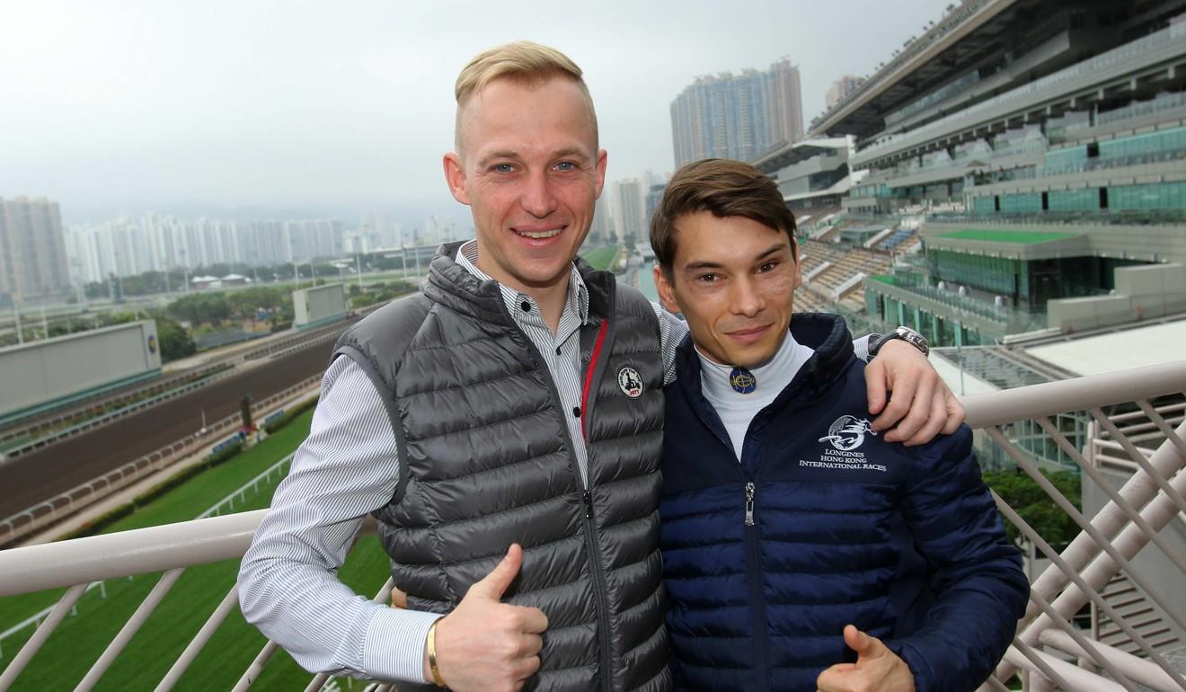 Tony Piccone with fellow jockey Alexis Badel at Sha Tin.