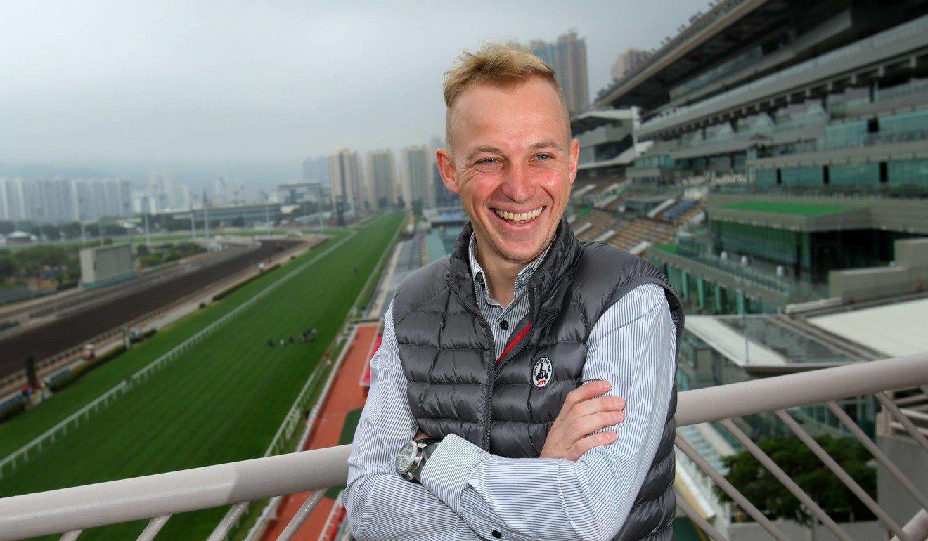 Jockey Tony Piccone is unveiled at Sha Tin.