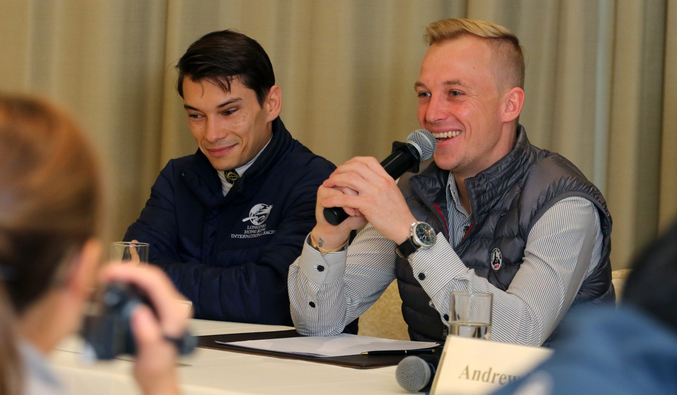 Tony Piccone (right) and Alexis Badel have a laugh with the press.
