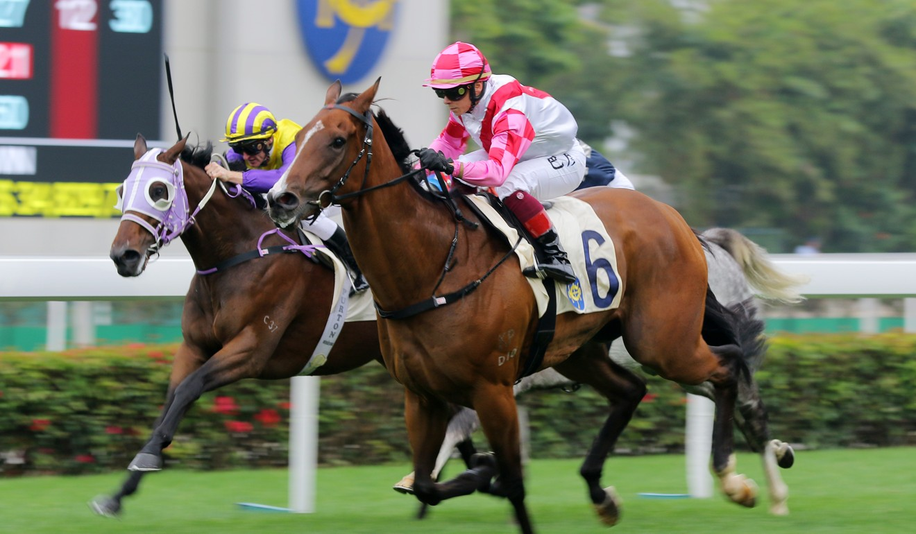 Alexis Badel bolts clear on Super Wealthy at Sha Tin on Wednesday.