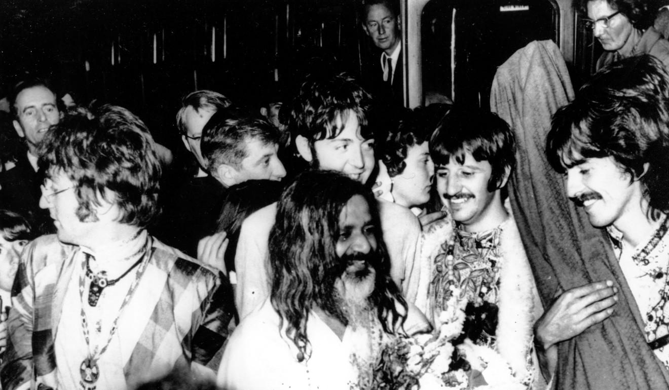 Maharishi Mahesh Yogi, centre, with the Beatles in 1967. Photo: AP