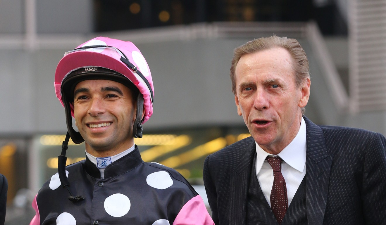 Trainer John Size with jockey Joao Moreira after Beauty Legacy's win.
