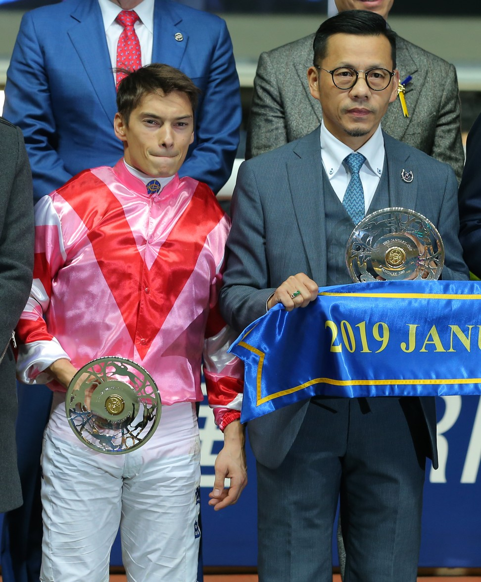 Alexis Badel with trainer Frankie Lor after Simply Brilliant's victory at Happy Valley.