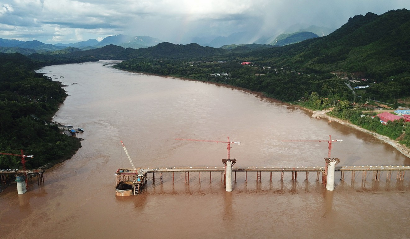 A railway bridge being built by a Chinese engineering company across the Mekong in Laos. Photo: Xinhua