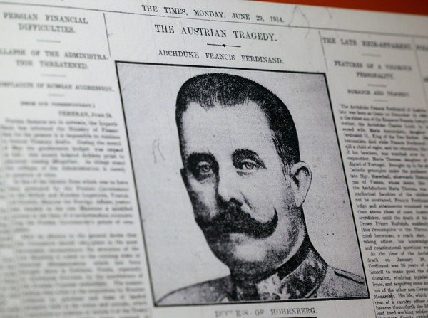 This April 4, 2014, photo shows a reproduction of a London newspaper front page from 1914, which writes about the assassination of Archduke Franz Ferdinand, on display at the National World War I Museum in Kansas City in the US. Photo: AP