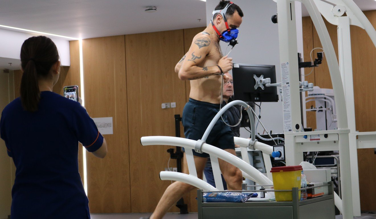 Patrick Blennerhassett getting his VO2 max tested at Emirates SportsMed in Dubai. Photo: Emirates SportsMed