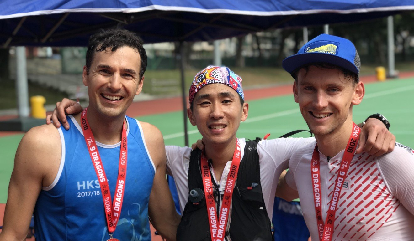 Deng Goumin, flanked by Michael Skobierski (left) and Harry Jones after the 2018 9 Dragons. Photo: Handout