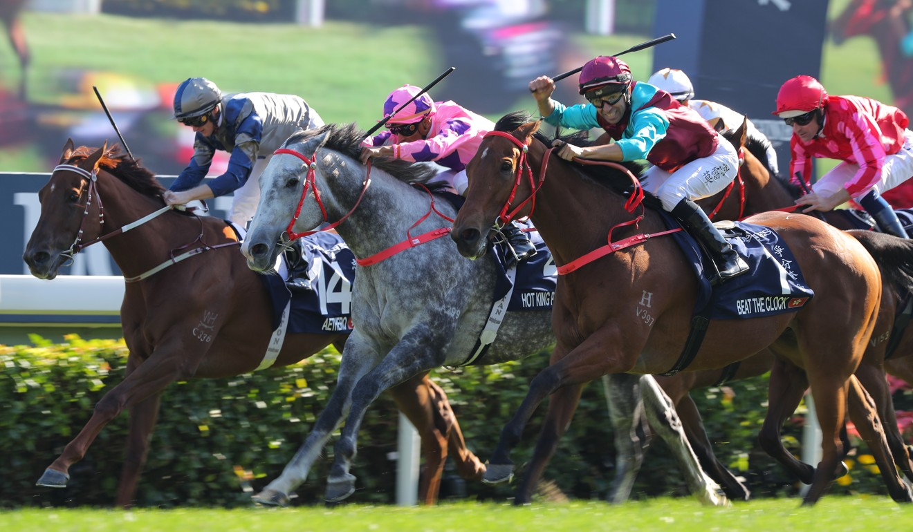 Aethero (left) finishes third to Beat The Clock (right) in the Hong Kong Sprint.