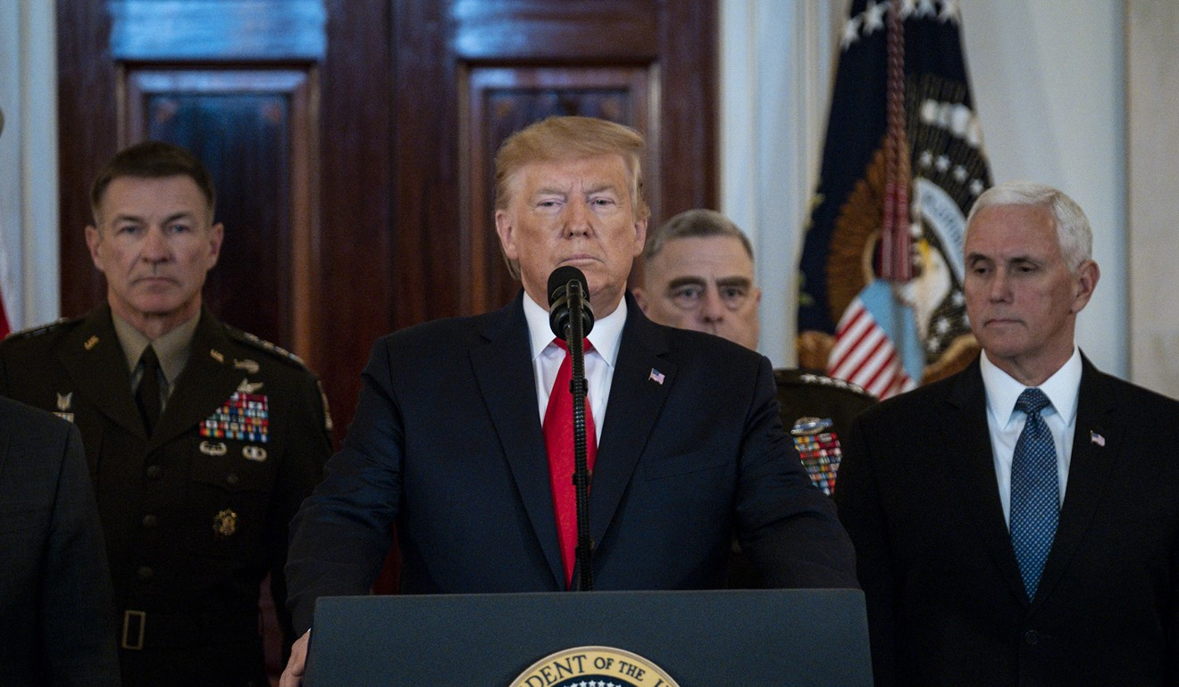 President Donald Trump delivers a statement in response to Iran firing more than a dozen ballistic missiles at two Iraqi military bases housing US troops. Photo: TNS