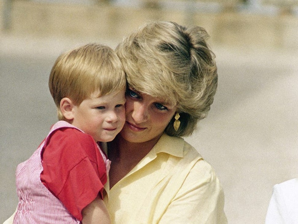 Prince Harry, as a child aged two, with mother Princess Diana. Photo: AP