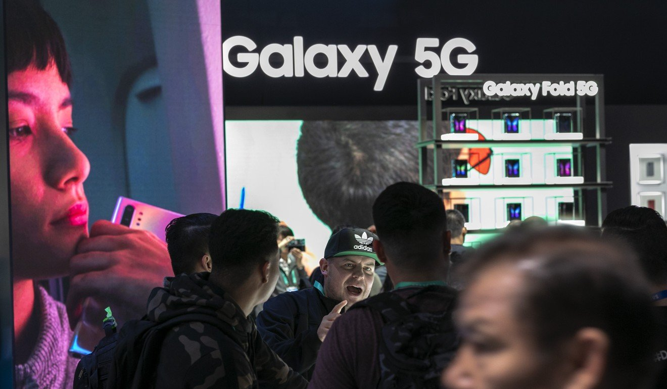 Samsung 5G products are on display at the 2020 Consumer Electronics Show in Las Vegas, US. Photo: AFP