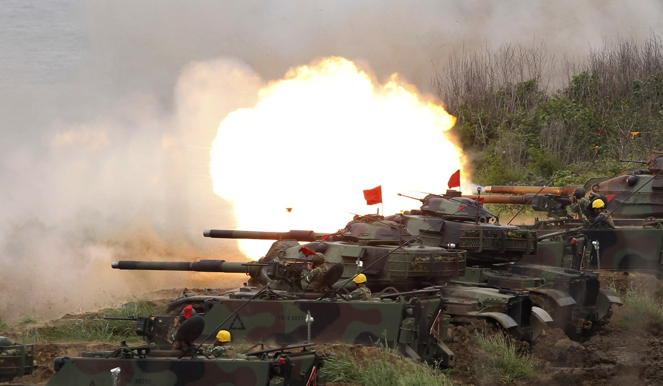 US M60A3 Patton tanks fire at targets during the annual Han Kuang exercises in Taiwan. Beijing has strongly protested US arms sales to the self-governed island. Photo: AP