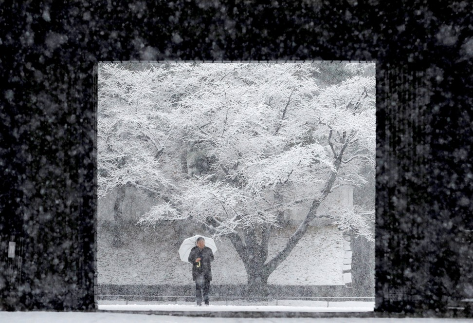 Snow at the Imperial Palace in Tokyo in 2018. Photo: Reuters