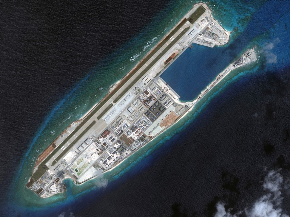A satellite image of Chinese infrastructure on Fiery Cross Reef in the Spratly Island chain in the South China Sea. Photo: AP