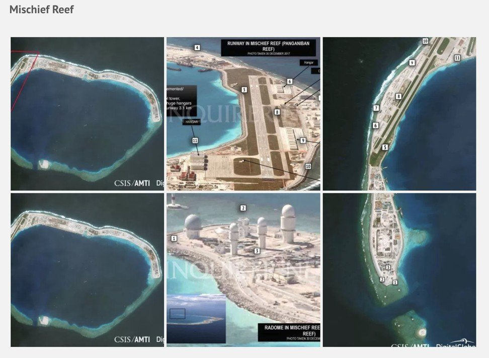 A satellite image of Chinese infrastructure on Mischief Reef. Photo: The Asia Maritime Transparency Initiative and The Centre for Strategic and International Studies