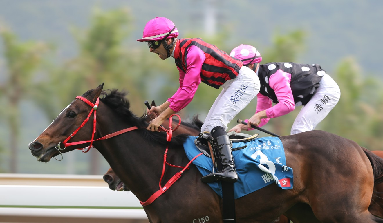 Joao Moreira celebrates his win on Waikuku at Sha Tin.