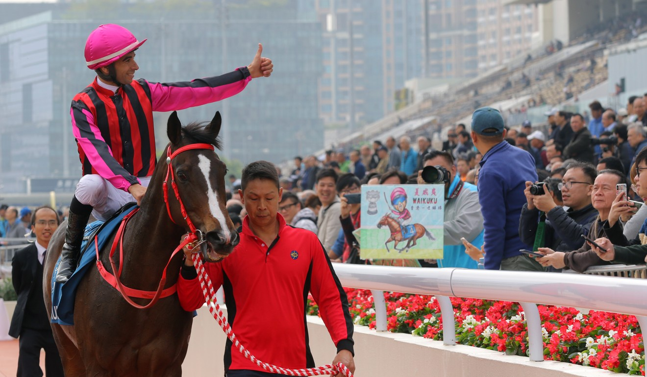 Joao Moreira returns on Waikuku after winning the Stewards' Cup at Sha Tin.