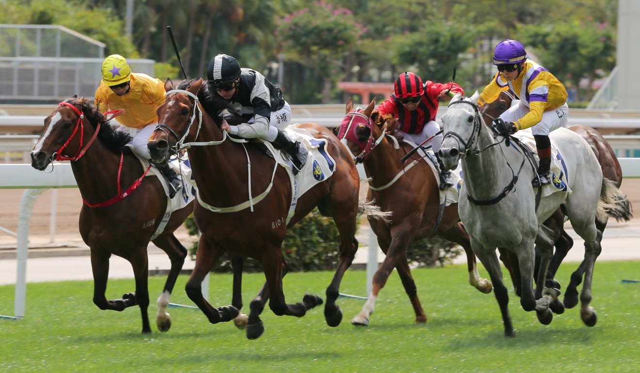 Exultant (centre) holds off his rivals to win at Sha Tin on Monday.