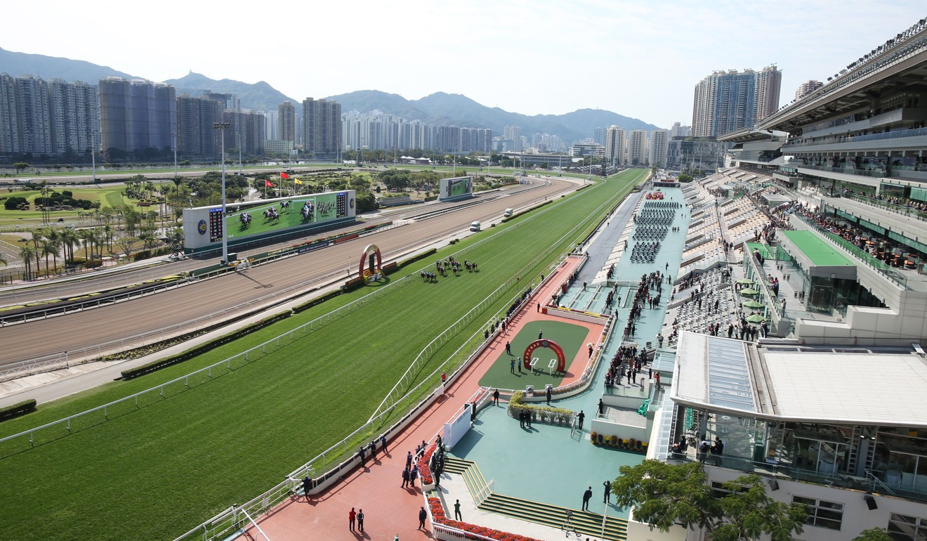 Horses race in front of an empty grandstand at Sha Tin.