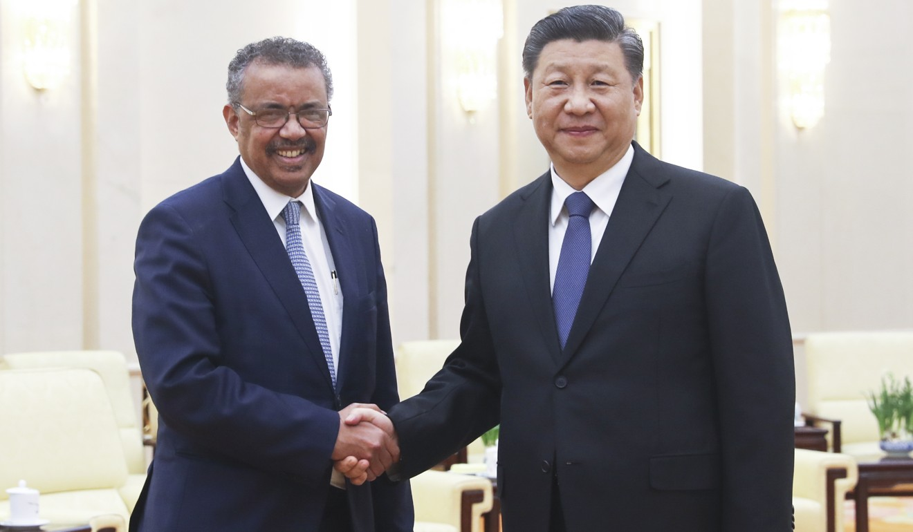 "Chinese President Xi Jinping, who describes the coronavirus as a ""demon"", meets WHO director general Tedros Adhanom Ghebreyesus in Beijing. Photo: Xinhua"