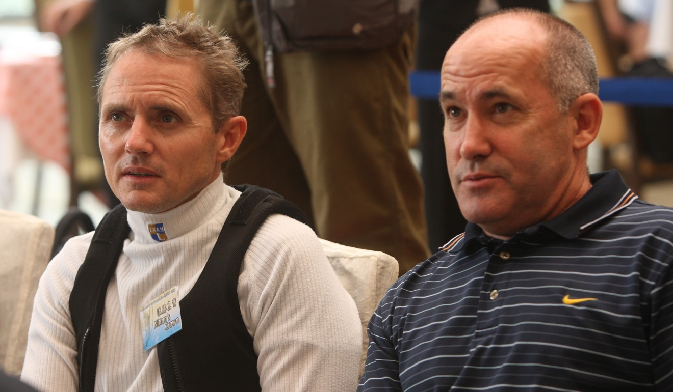 Jockey Shane Dye (left) and trainer Geoff Allendorf (right) attended the Hong Kong Macau Trophy barrier draw at Sha Tin in 2010.