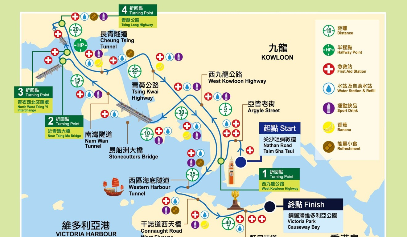 The 2020 Hong Kong Marathon route. Another race might not be the same, but at least your training is not wasted.