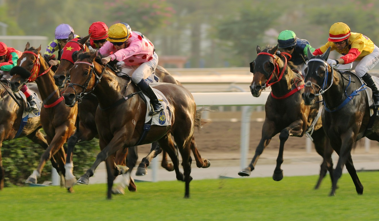 Columbus County (outside) chases home Preciousship at Sha Tin in January.