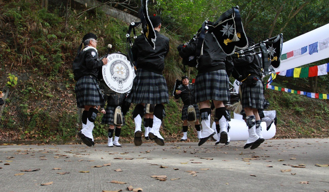 A pipe band play at the start of Gurkha Trailblazer race. The research does not reveal when it the optimal time to listen to music or what cultural influences are at play. Photo: Elton Lam