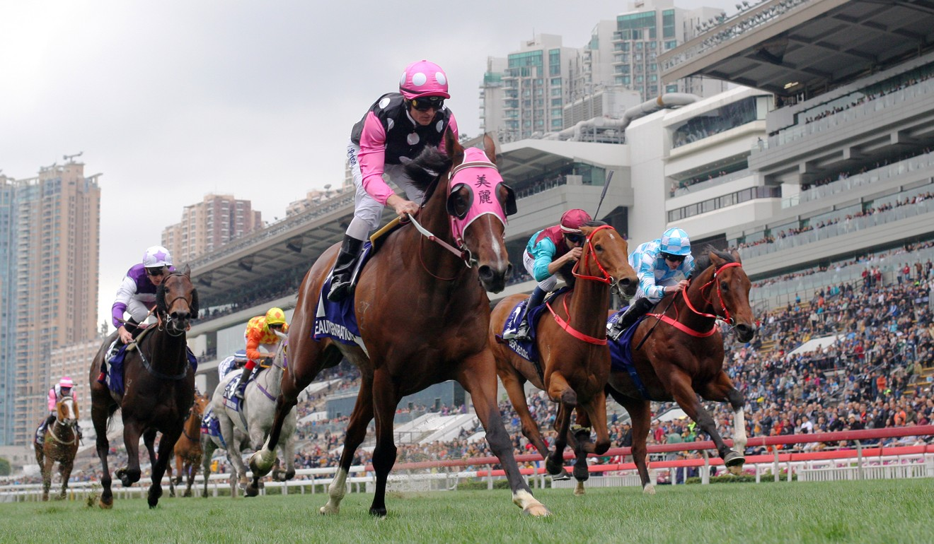 Beauty Generation wins the Queen's Silver Jubilee Cup at Sha Tin last season.