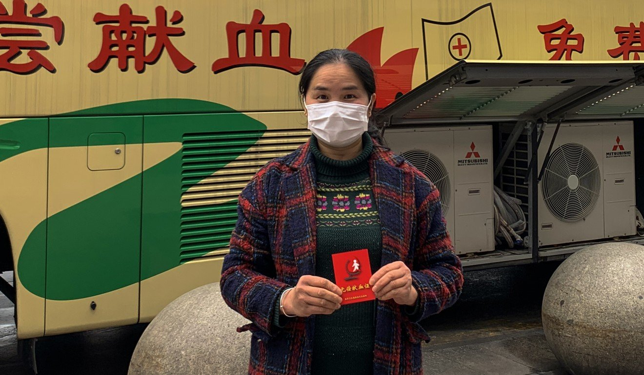 Shen Weihong gave blood after seeing a notice saying supplies were running out. Photo: Handout