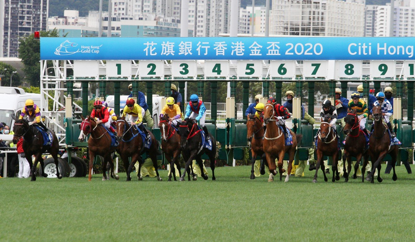 The field jumps in the Group One Hong Kong Gold Cup at Sha Tin on Sunday.
