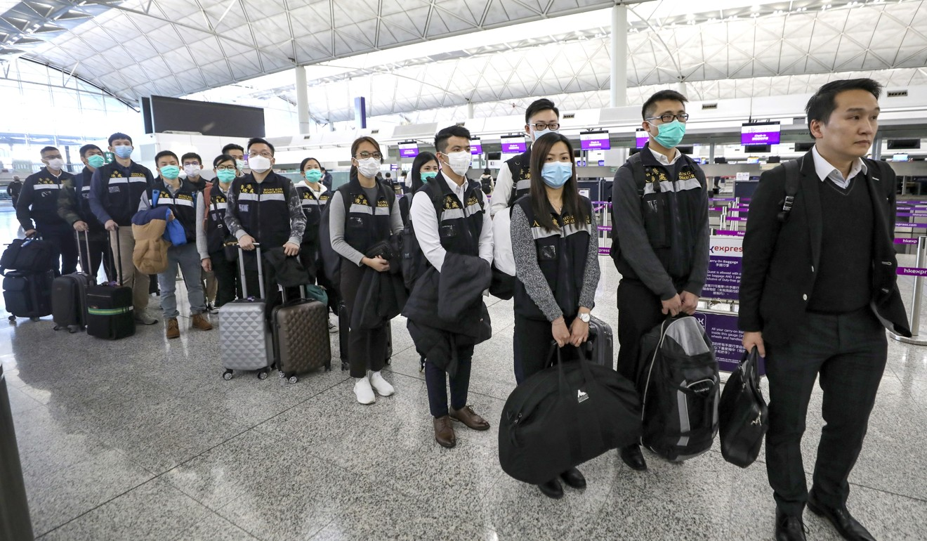 The immigration team on its way to Tokyo at Hong Kong International Airport. Photo: Handout