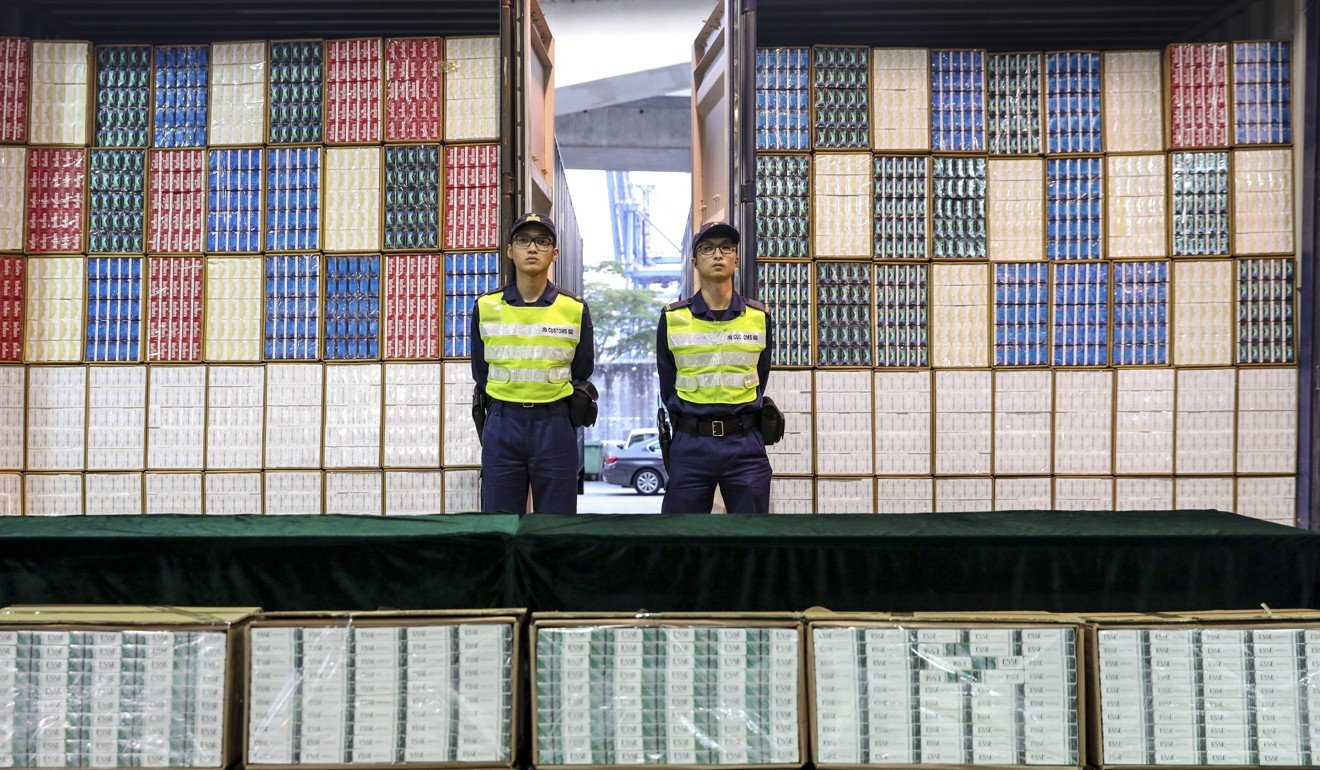 HK$85 million worth of cigarettes seized in largest haul of its kind in two decades, as Hong Kong customs intercepts four shipping containers