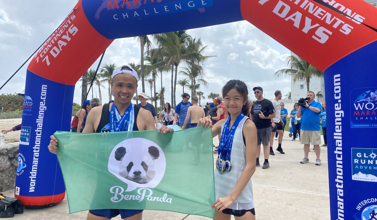Andy Chik and his daughter Nicole ran seven runs, in seven days on seven continents. Andy ran a marathon on each, and Nicole ran 10km on each. Photo: Handout