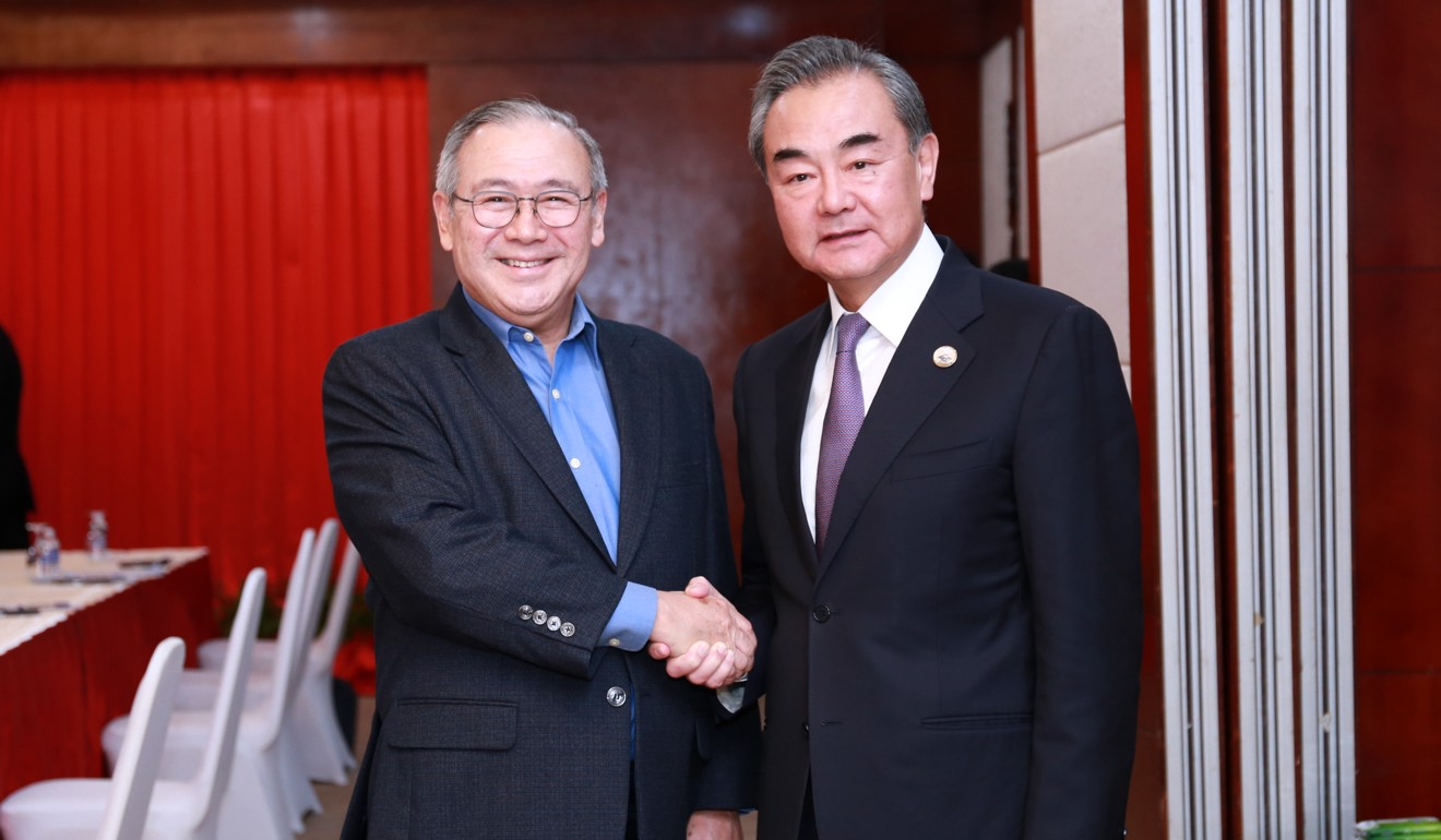 The emergency meeting is co-chaired by Philippine Foreign Secretary Teodoro Locsin Jnr and Chinese Foreign Minister Wang Yi. Photo: Xinhua