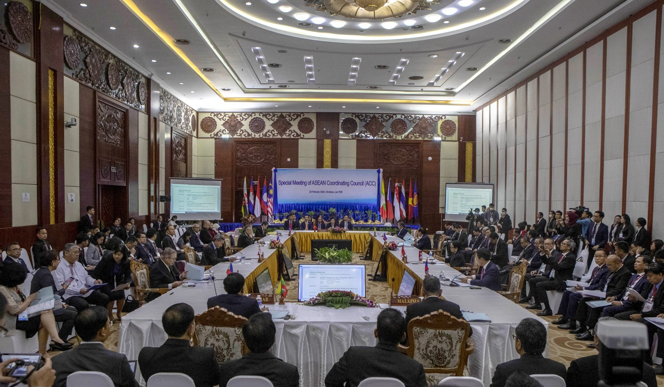 Delegates and Asean foreign ministers gather in Vientiane, Laos, on February 20, 2020. Photo: AP