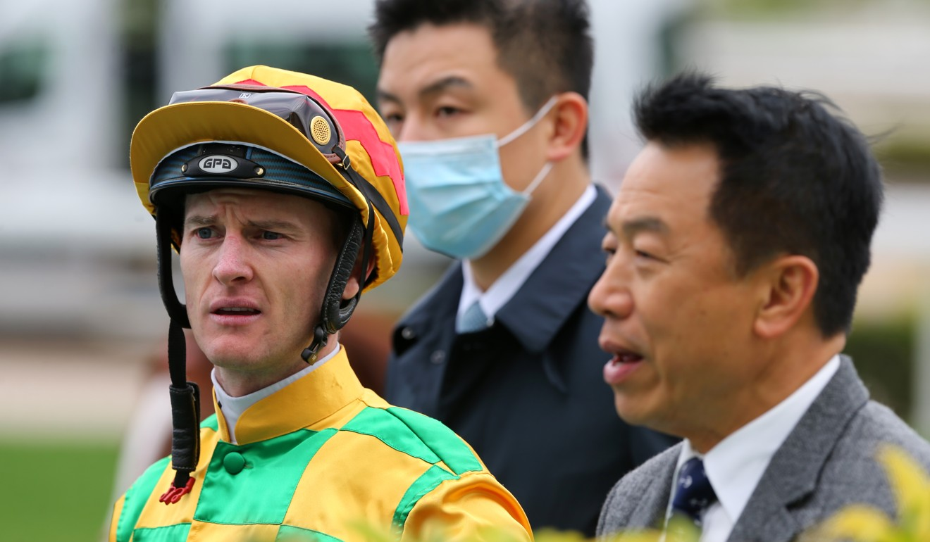 Ricky Yiu with jockey Zac Purton after winning on the weekend.