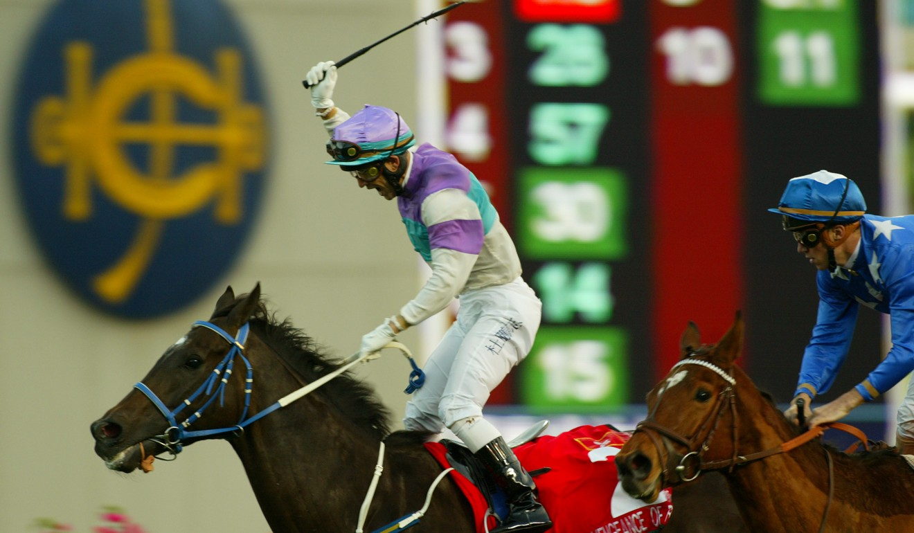 Anthony Delpech wins the 2005 Hong Kong Cup on Vengeance of Rain. Photo: Kenneth Chan