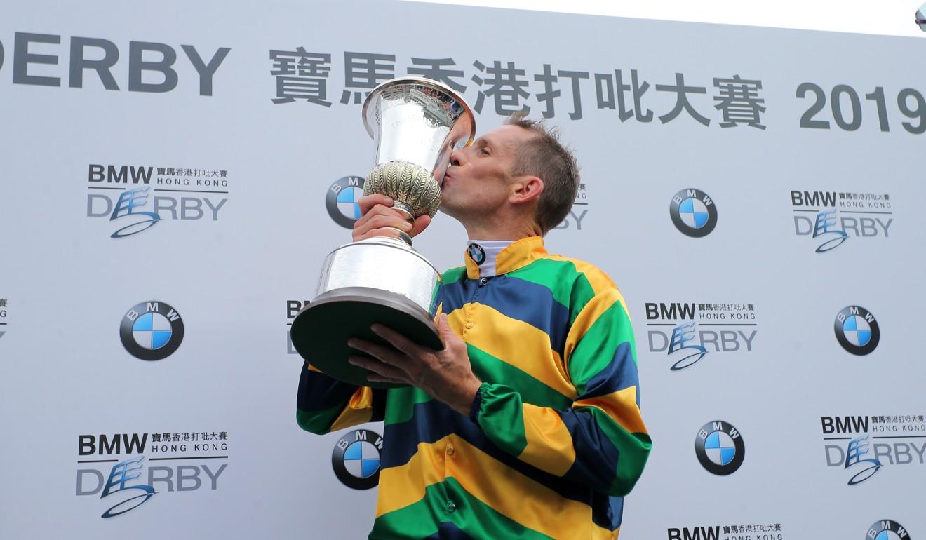Hugh Bowman after winning the 2019 Hong Kong Derby at Sha Tin.